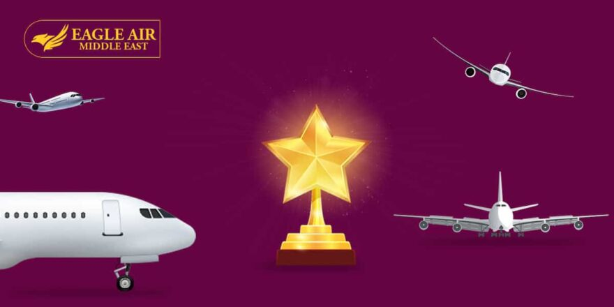 Multiple Airplanes Flying With An Award In The Middle.