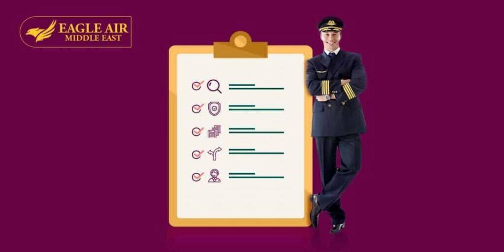 صورة طيار يقف بجانب قائمة من مهام الطيار