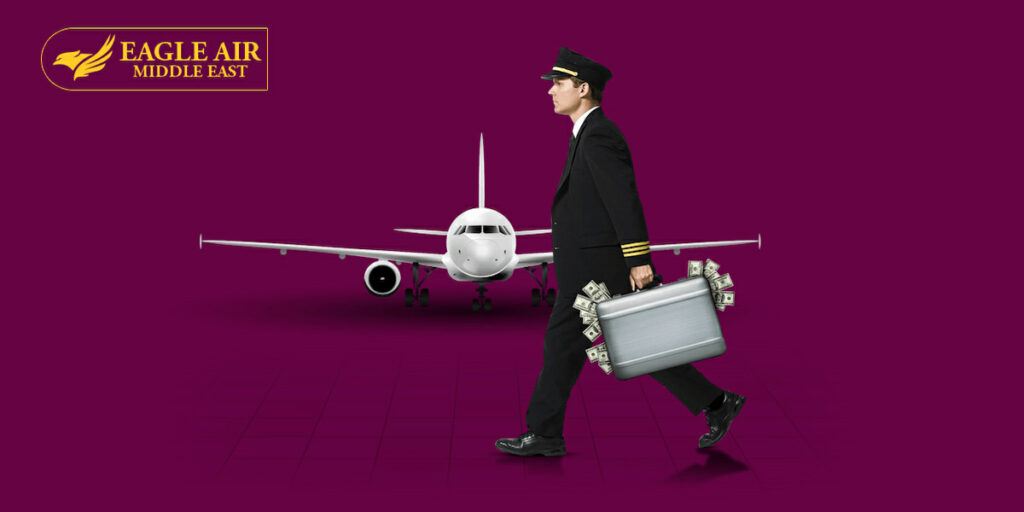 A pilot holding a briefcase walking sideways with an airplane behind him.