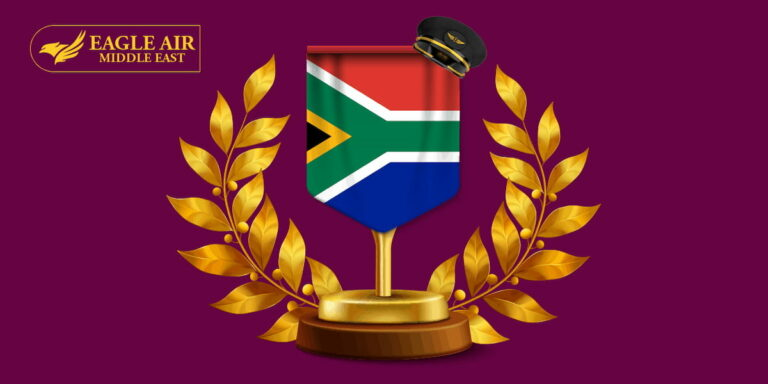 The South African flag with golden olive branches on each side.