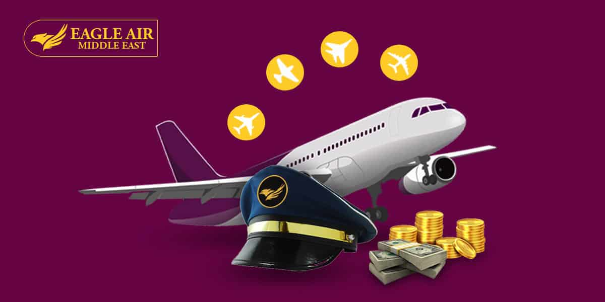 An Airplane With A Pilot'S Cap And A Pile Of Money In Front Of It.