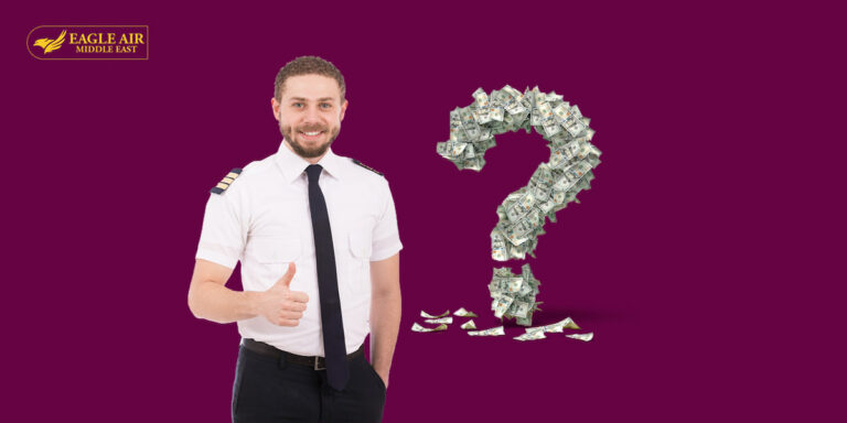 A pilot giving a thumbs up with a question mark made of money behind him.