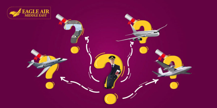 A Pilot Inside A Question Mark And Airplanes Around Him With Question Marks Behind Them.