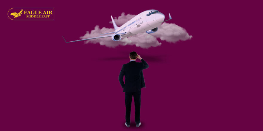 A Man In A Suit Standing In Front Of An Airplane Covered In Clouds.