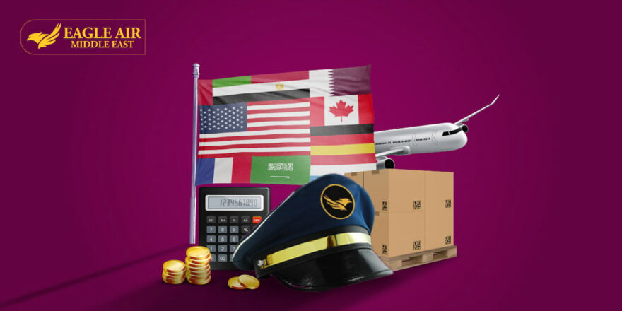 A Pilot'S Cap Placed In Front Of Coins, A Calculator, Flags And An Airplane.