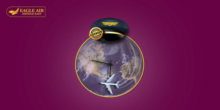 Earth in the shape of clock with a plane on it to refer to the duration in the flight school