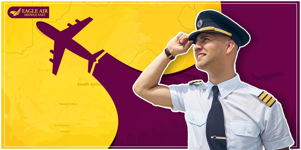 طيار وبجانبه جملة تدل على دراسة الطيران في جنوب أفريقيا